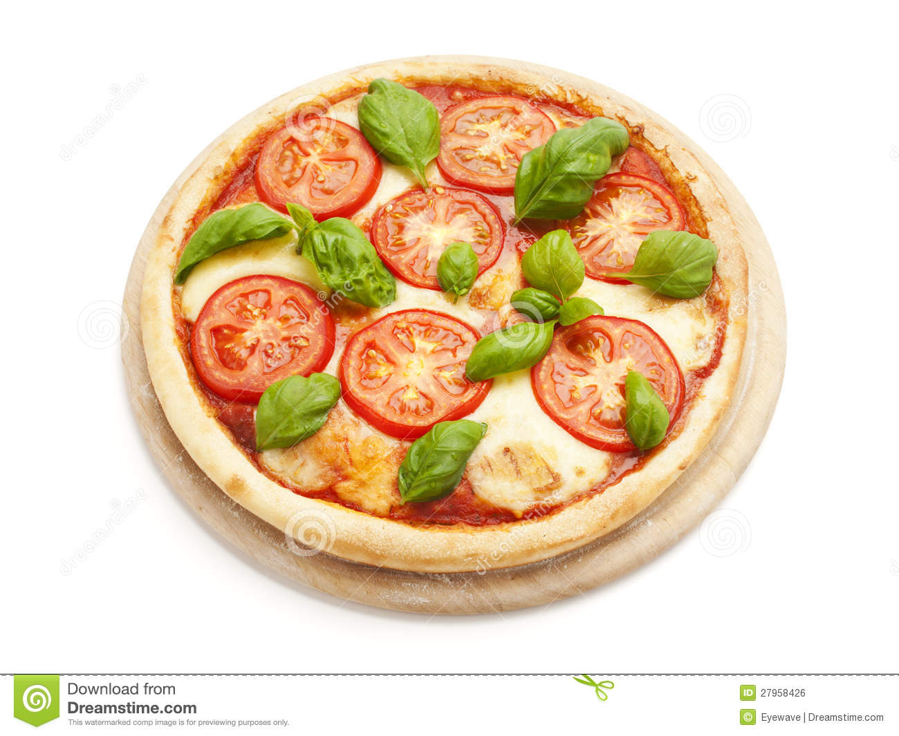 Pizza Caprese On White Background Royalty Free Stock Images.