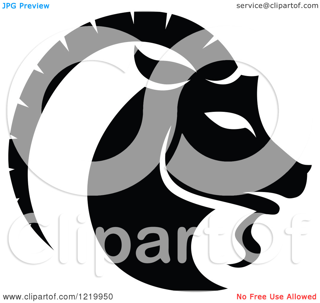 Clipart of a Black and White Astrology Capricorn Sea Goat Zodiac.