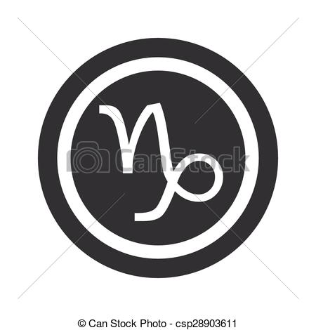 Vector Clip Art of Round black Capricorn sign.