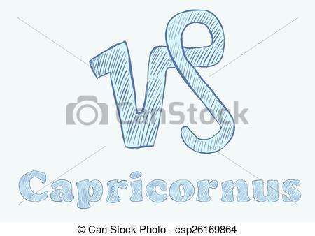 Clip Art Vector of Capricornus zodiac sign the sketch with an.