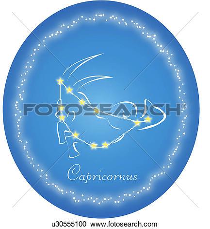 Clipart of star sign, Capricornus, asterism, star, goat, horoscope.