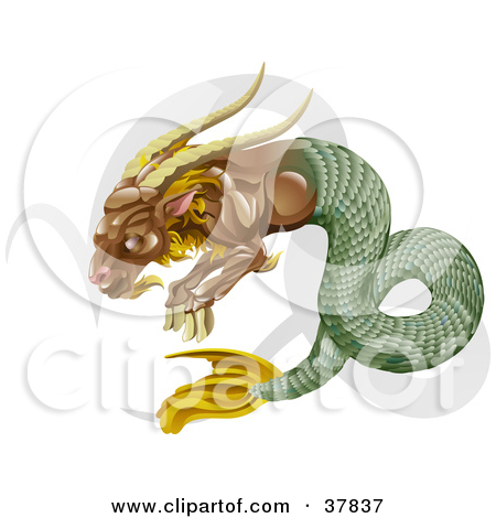 Clipart Illustration of Capricorn The Sea Goat With The Zodiac.