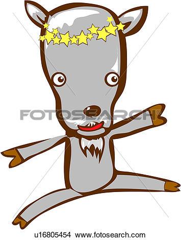 Clipart of horoscope, capricornus, goat, animal, character.