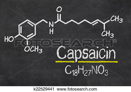 Clipart of Blackboard with the chemical formula of Capsaicin.