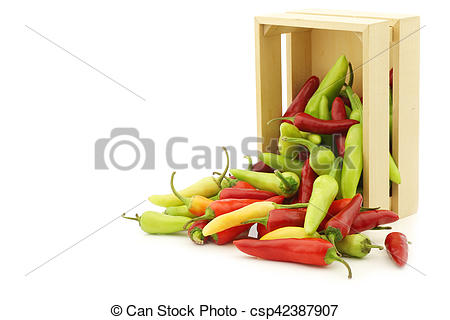 Stock Photography of red and green rawit peppers (Capsicum annuum.