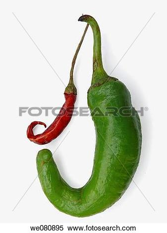 Stock Image of Common Chili Capsicum annuum Red and green chilies.