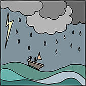 Clipart of Storm at Sea with Boat Vector k16805333.