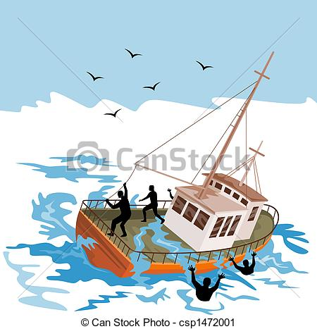 Clipart of Fishing boat about to capsize.