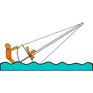 Capsized boat clipart.