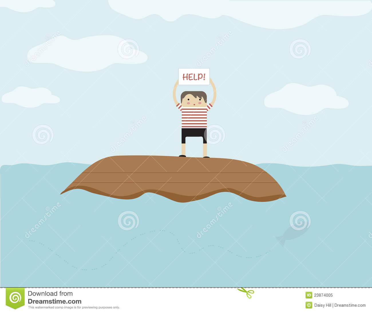 Stranded At Sea Royalty Free Stock Photo.