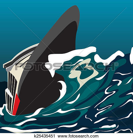 Clipart of Capsized cruise ship k25435451.