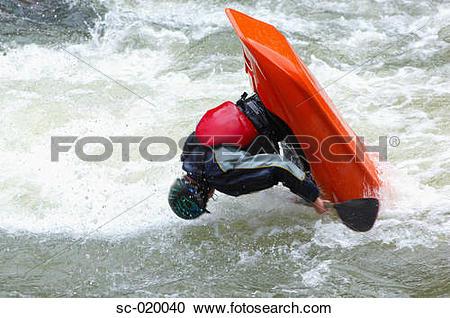 Stock Photography of Kayaker Capsizing sc.