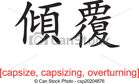 Vectors Illustration of Chinese Sign for capsize, capsizing.