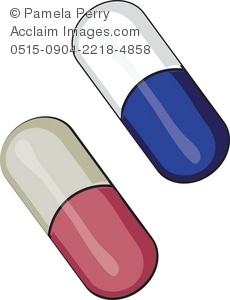 Clip Art Illustration of Medicine Capsules.