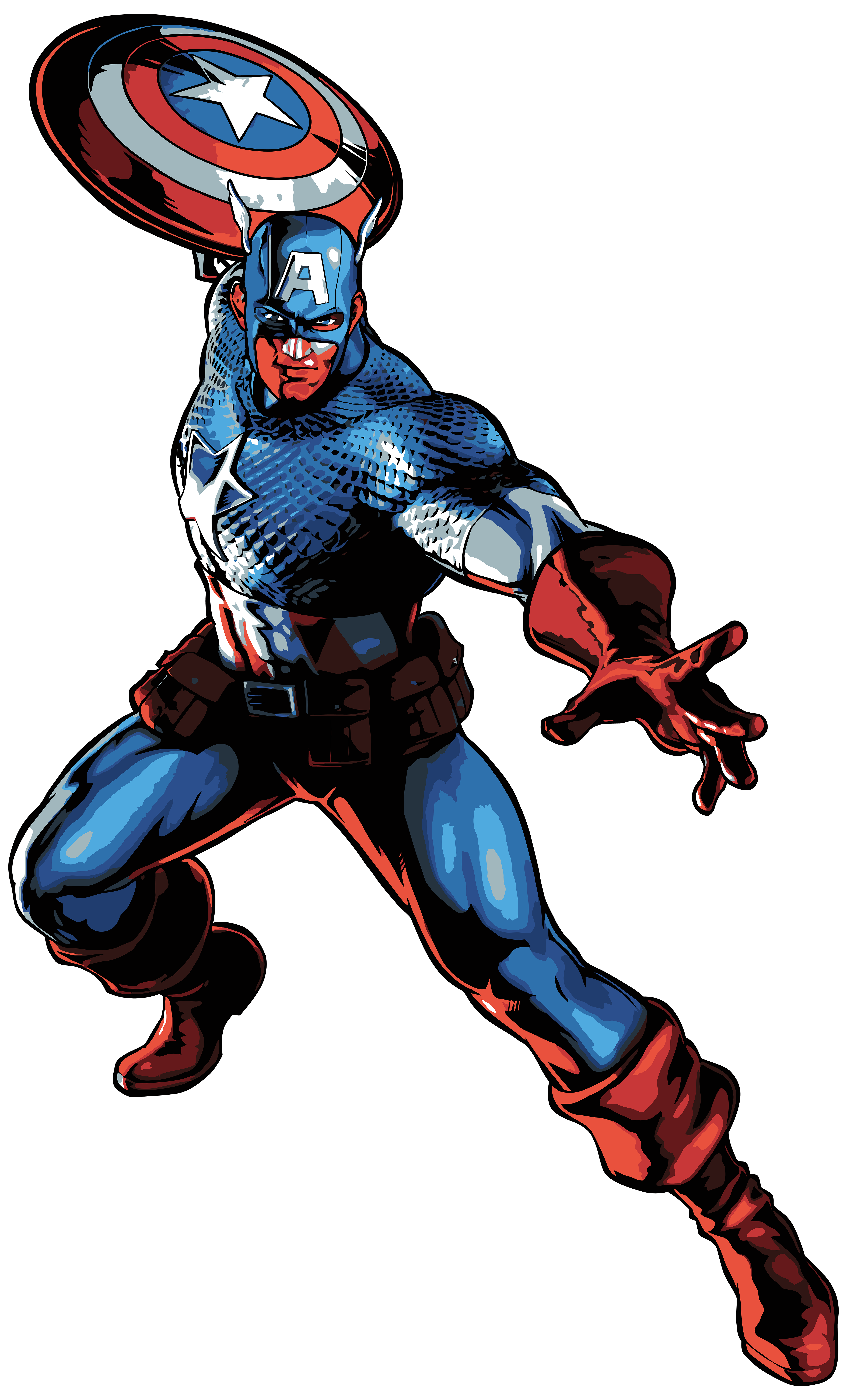Captain America Cartoon PNG Clip Art Image.
