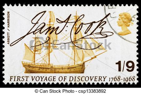 Stock Photographs of Britain Captain Cook Postage Stamp.