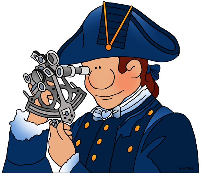 Free Explorers Clip Art by Phillip Martin, James Cook and Sextant.