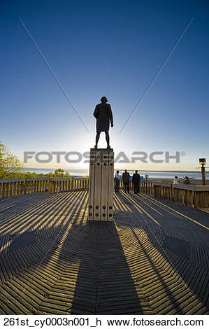 Stock Photo of The Captain Cook monument overlooking Knik Arm in.