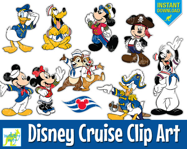 Disney Cruise Digital Clip Art with Mickey, Minnie, Donald, Pluto.