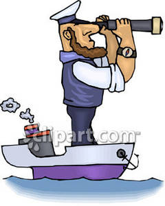 Clipart Cartoon Picture of a Huge Captain on a Small Ship.