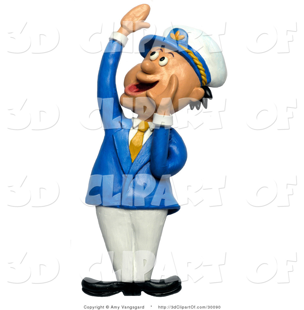 3d Clip Art of a 3d Ship Captain Looking up and Hollering by Amy.