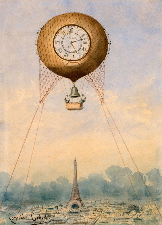 Captive Balloon with Clock Face and Bell, Floating Above the.