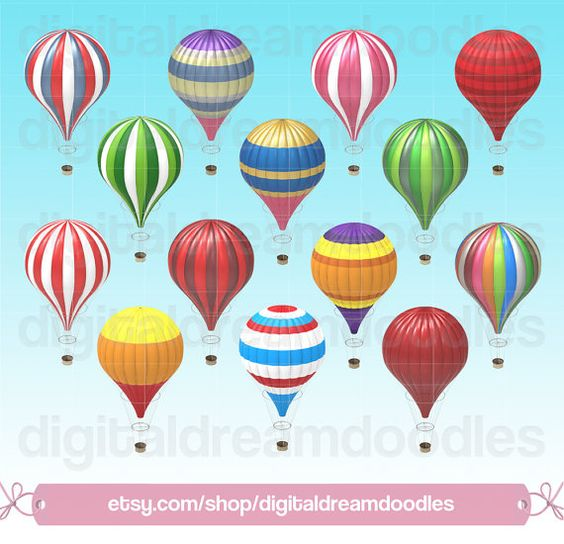 Air Balloon Clipart, Vintage Hot Air Balloon Clip Art, Colorful.