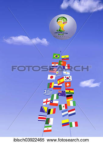 "Stock Image of ""Captive balloon, at its ropes the flags of the."