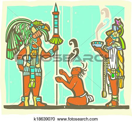 Clipart of Mayan Warrior, Captive and Priest k18639070.