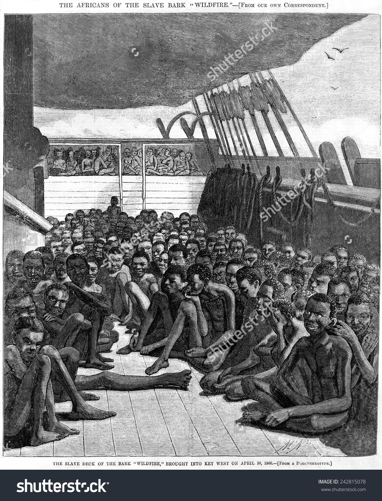 Slave Deck Ship Wildfire Captured Transporting Stock Illustration.