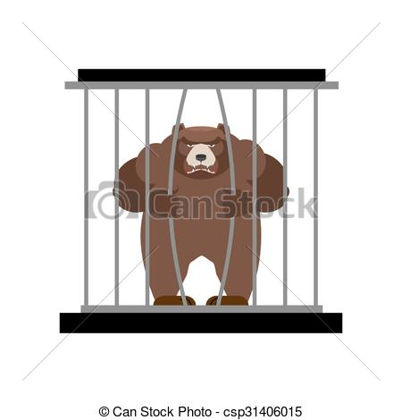 Vector Clip Art of Bear in Zoo cage. Strong Scary wild animal in.