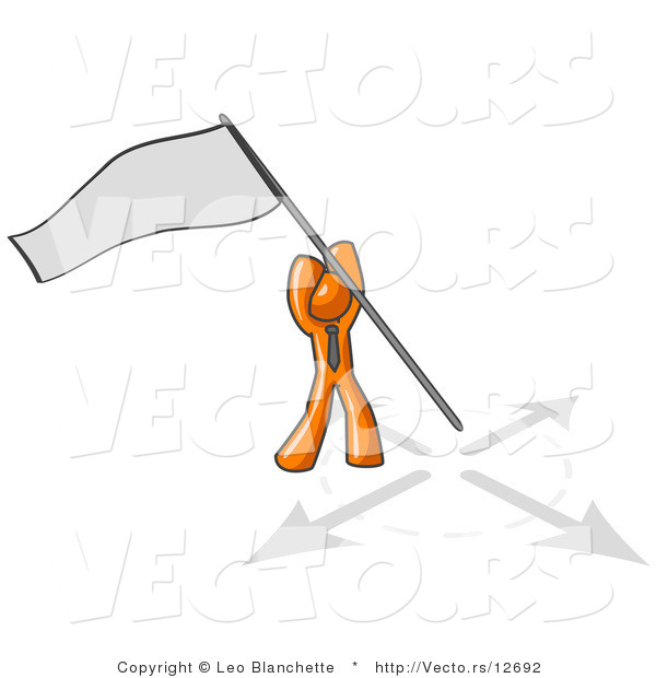 Vector of Orange Guy Claiming Territory or Capturing the Flag by.