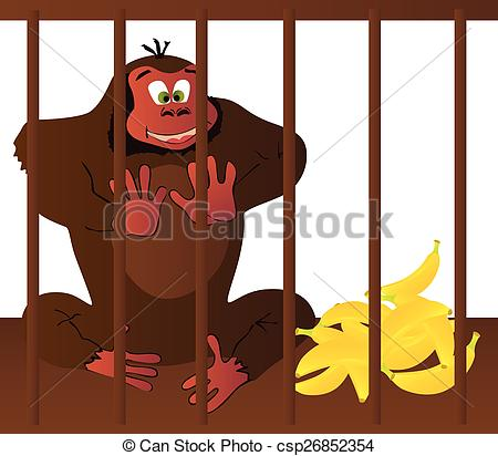Ape gorilla cage captured zoo bars cell prison big strong Vector.