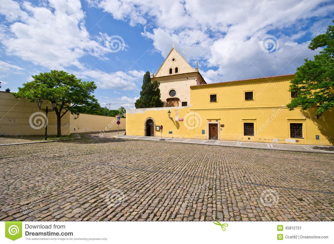 Cobblestone Square Near Capuchin Monastery, Hradcany, Prague.