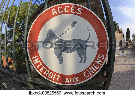 """Stock Photography of """"No Dogs Allowed, French sign, Capuchin."""