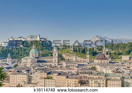 Stock Photograph of After sunrise Salzburg general view as seen.