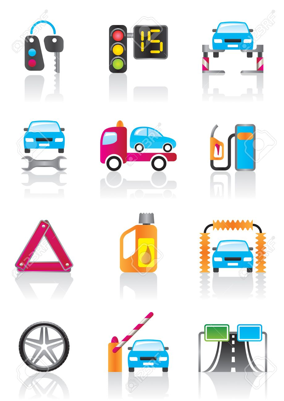 Car Service, Auto Assistance And Auto Accessories Royalty Free.