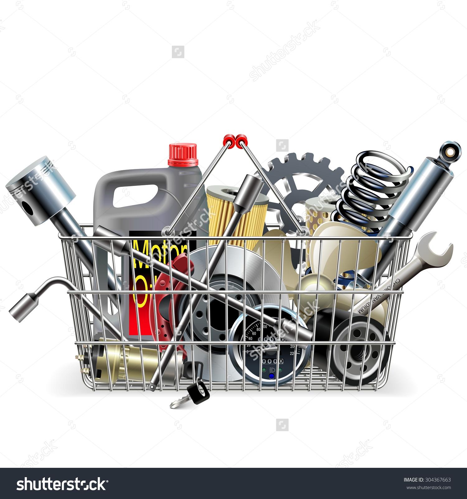 Vector Basket Car Spares Stock Vector 304367663.