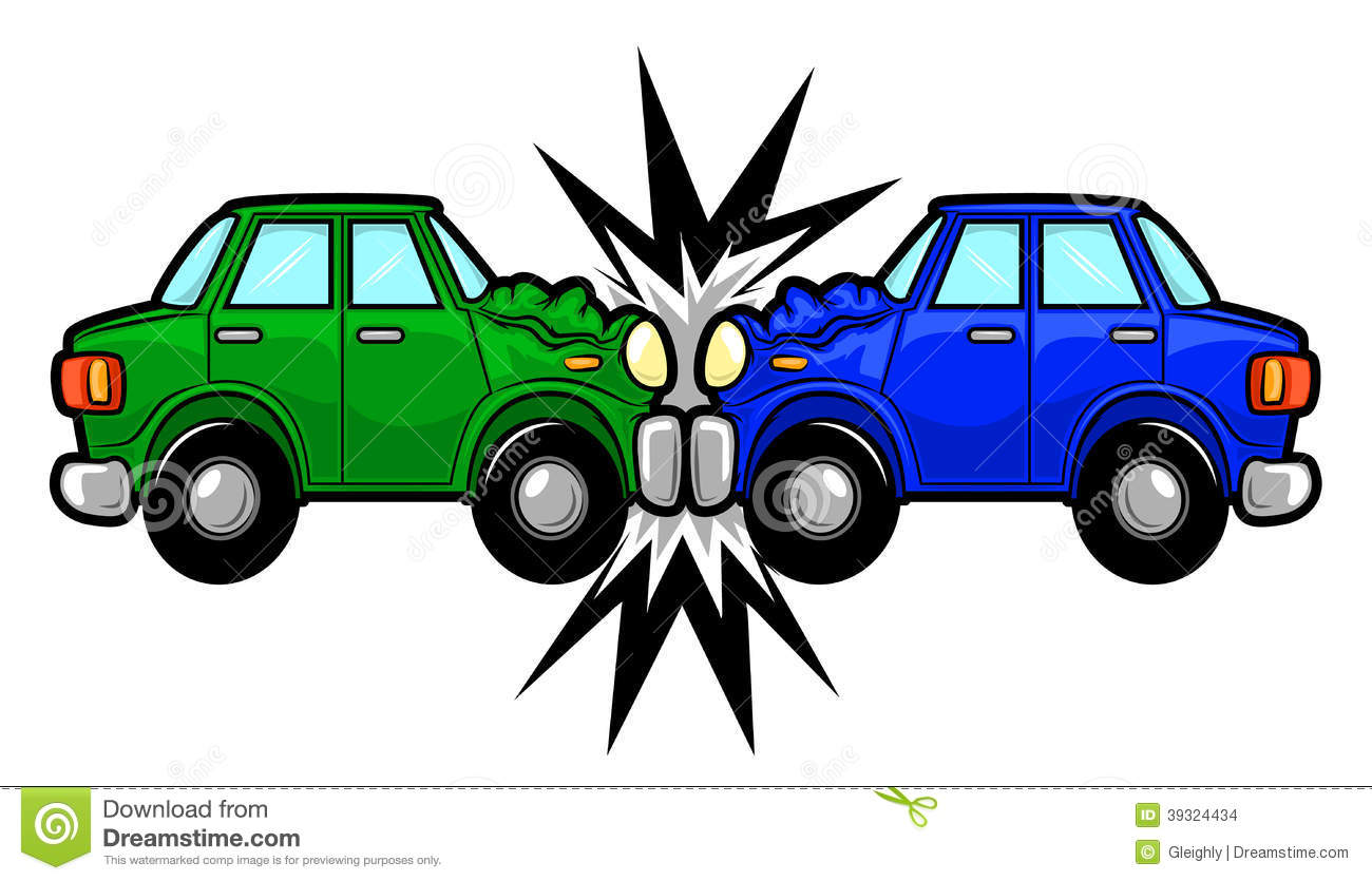 Cartoon car accident clipart.