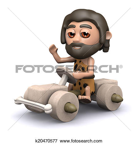 Stock Illustration of 3d Caveman driving stone age car k20470577.