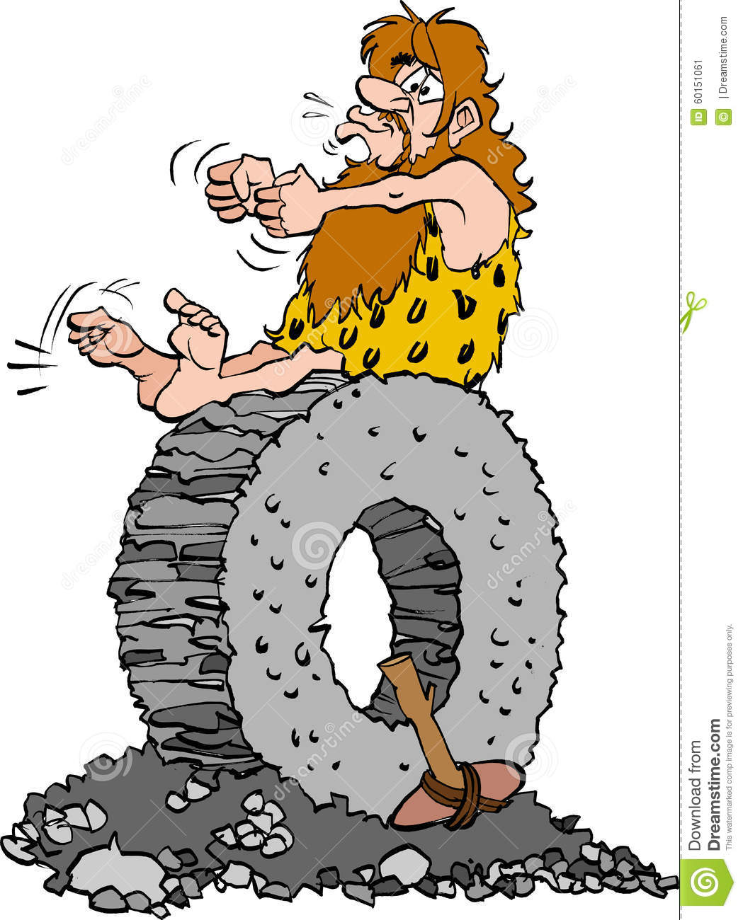 Stone Age Man Sitting On A Stone Wheel Stock Vector.