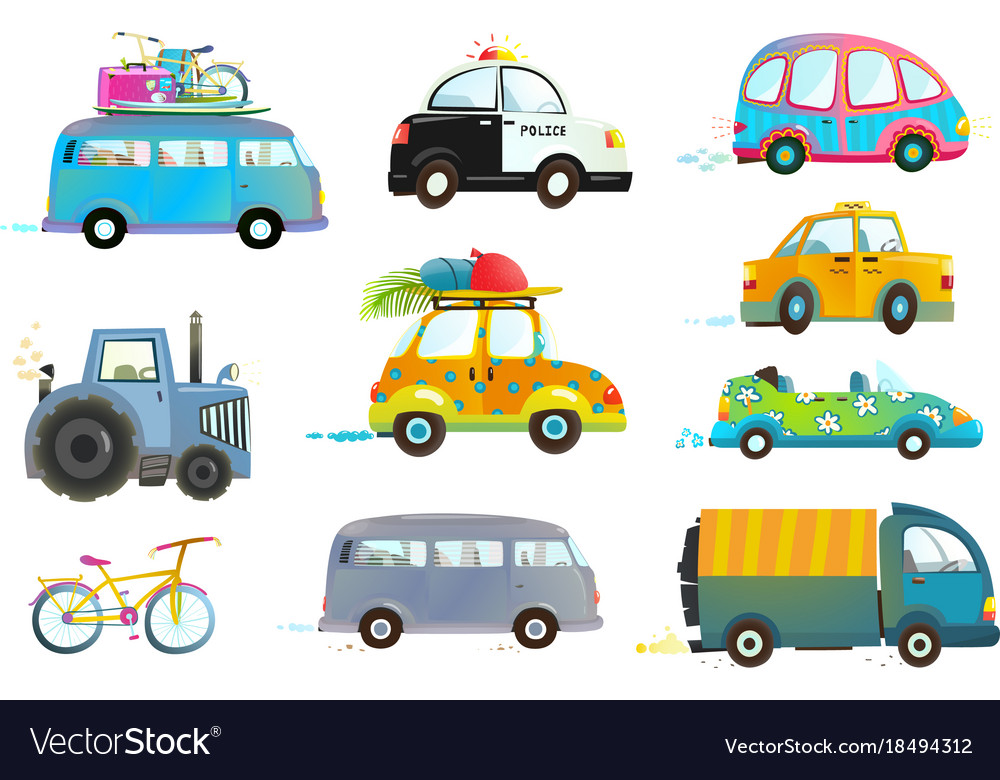 Car bus taxi police truck bicycle clipart.