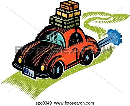 Stock Illustration of Car packed up for a road trip szo0349.