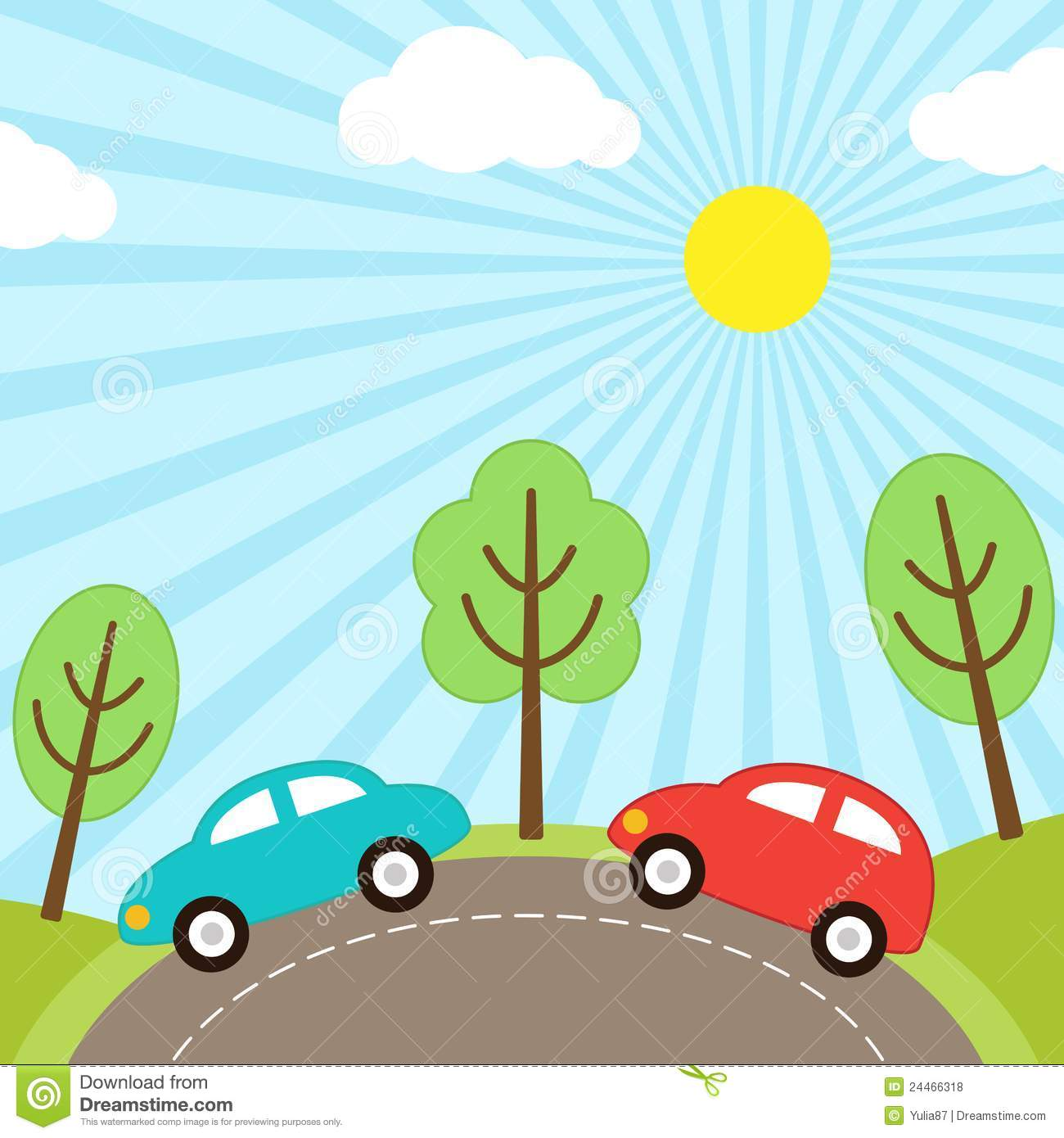 Road With Car Clipart.