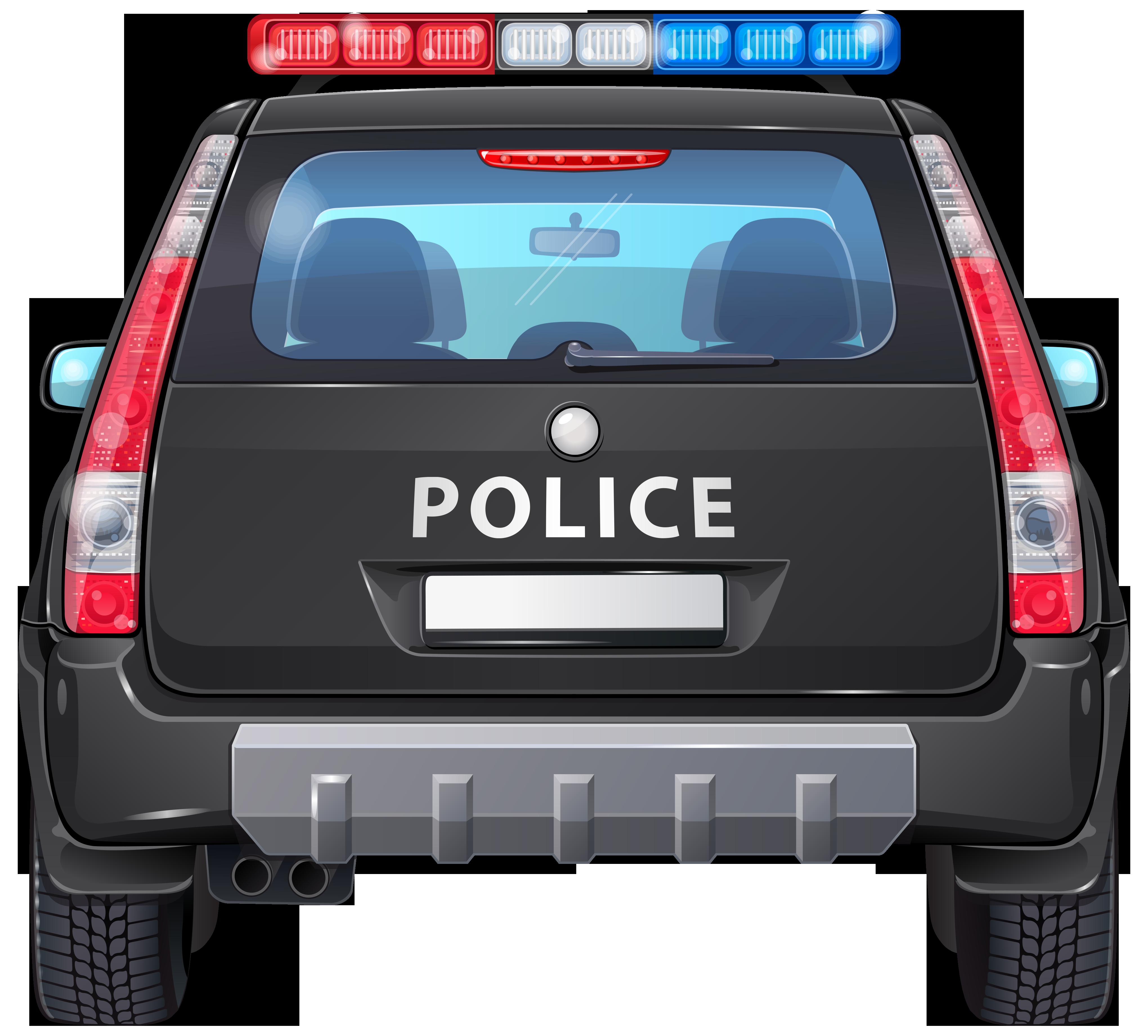 Police Car Back PNG Clip Art Image.