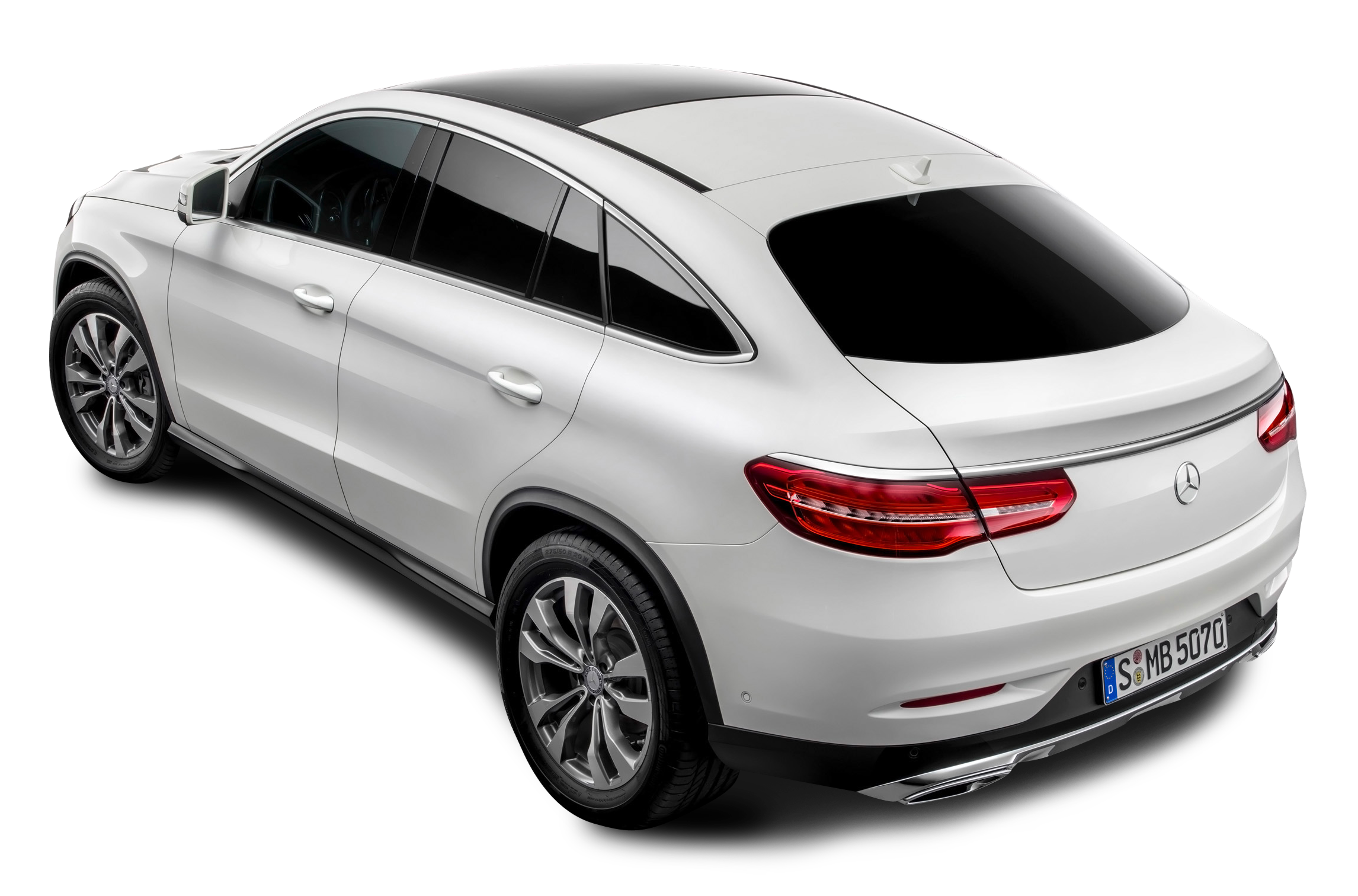 Mercedes Benz Back View White Car PNG Image.