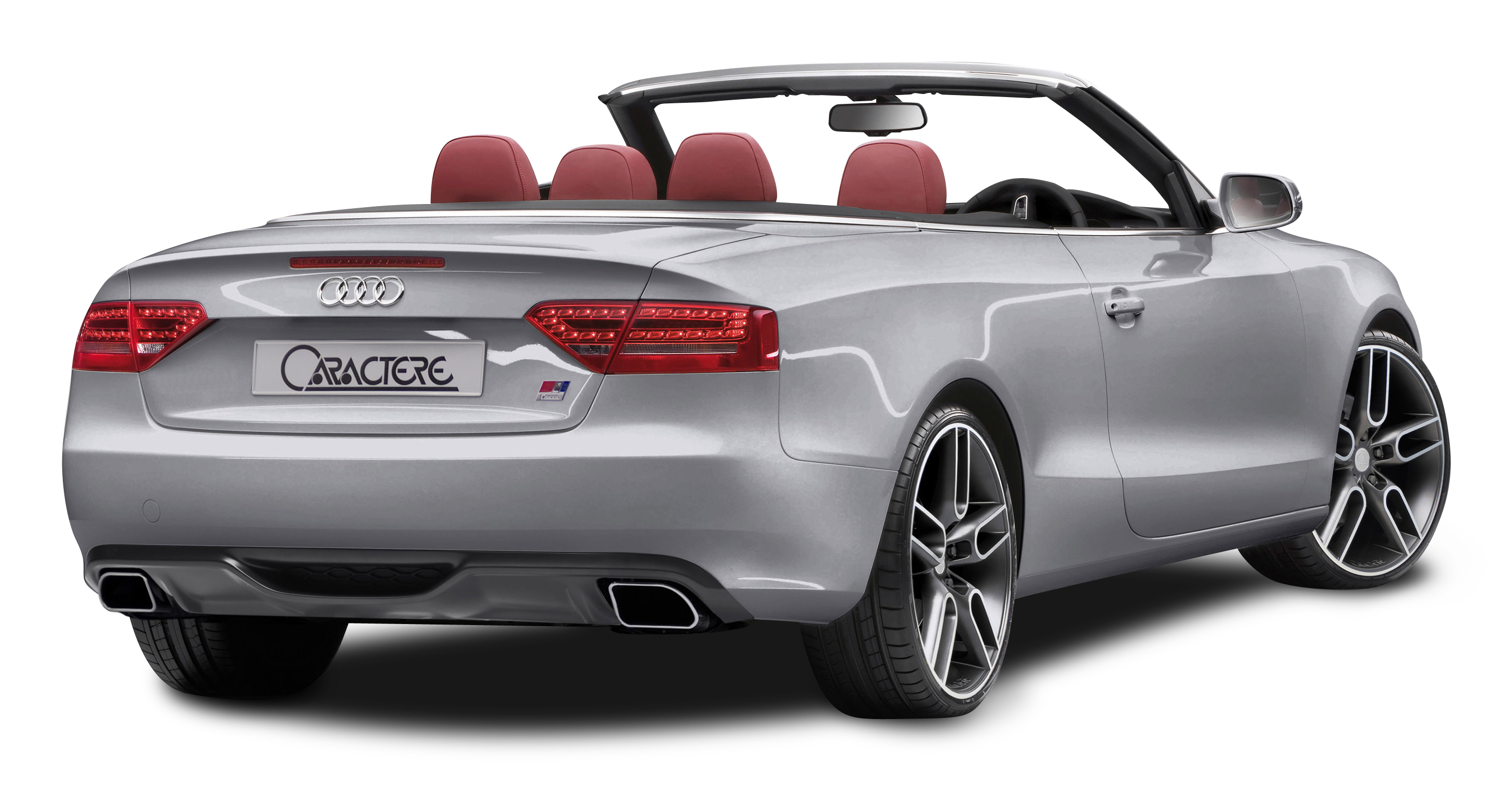 Audi A5 CABRIO Grey Back View Car PNG Image.