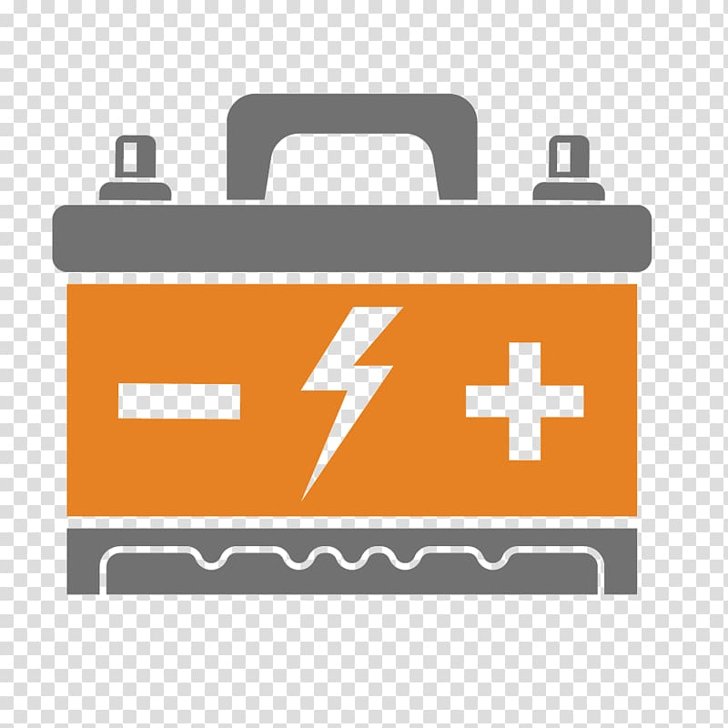 Orange and grey tubular battery , Car Device driver Icon.