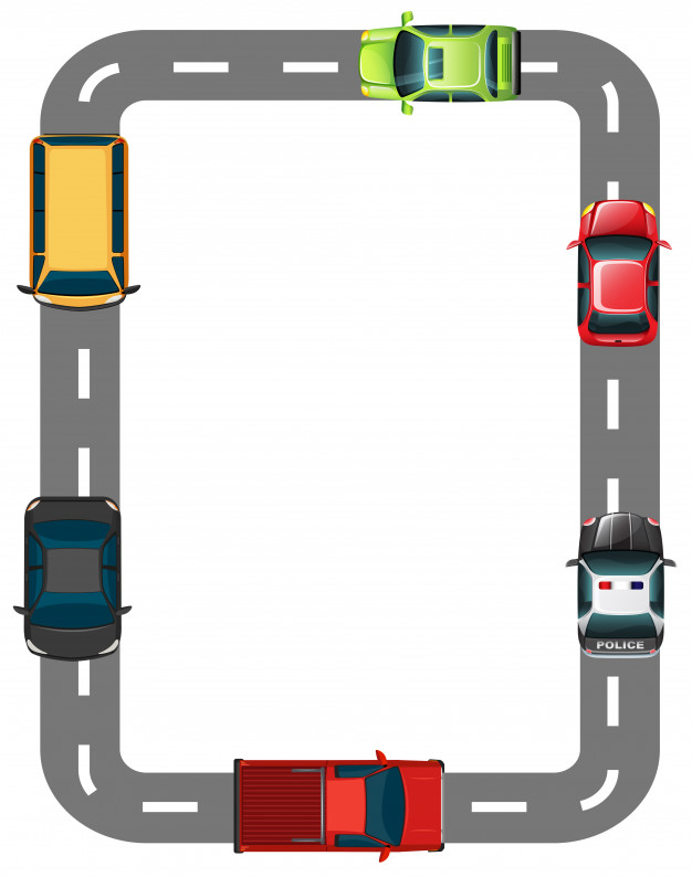 Border with road and cars Vector.