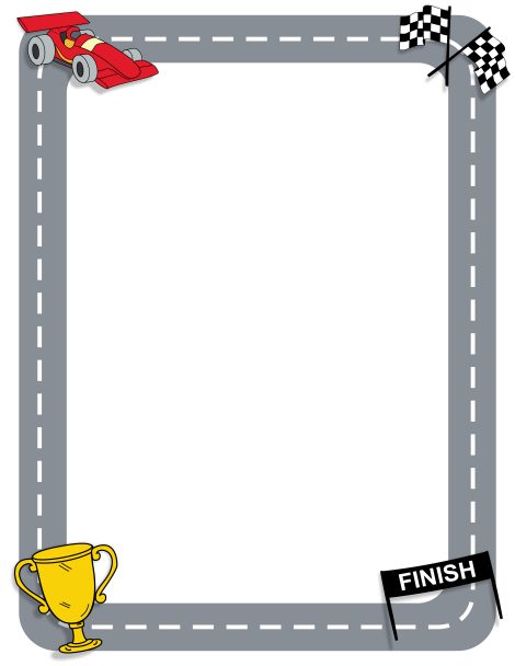 Page border featuring racing graphics such as a car and checkered.